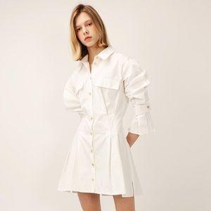 White pin tuck shirt dress